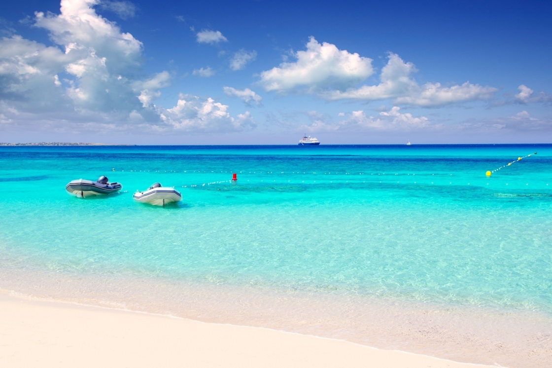 Illetas illetes tropical beach in Mediterranean with turquoise color a real paradise Formentera island [Photo Illustration]